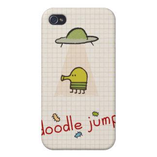 UFO del salto del Doodle iPhone 4 Carcasa