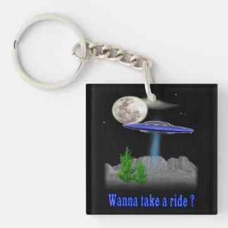 UFO divertido Llavero Cuadrado Acrílico A Doble Cara
