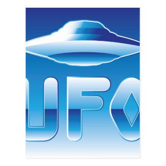 UFO en el cielo con la abreviatura Postales