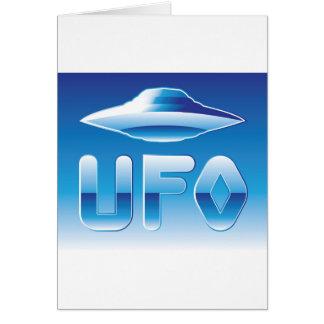 UFO en el cielo con la abreviatura Tarjeta De Felicitación