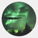 UFO en nubes verdes Pegatina