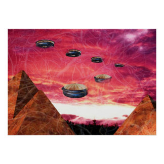 UFO fly above alien pyramids Poster