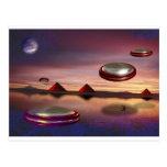 UFO fly above alien world Postcard