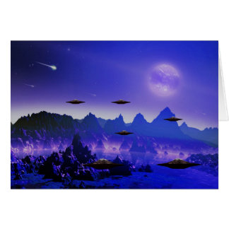 UFO flying object in space Card