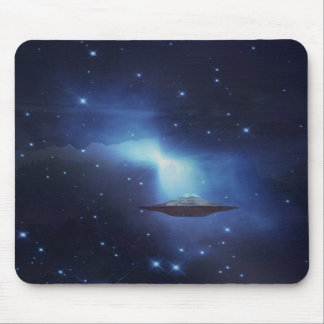UFO flying object in space Mouse Pad