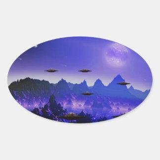 UFO flying object in space Oval Sticker