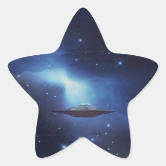 UFO flying object in space Star Sticker