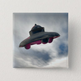UFO Flying Through Clouds Pinback Button