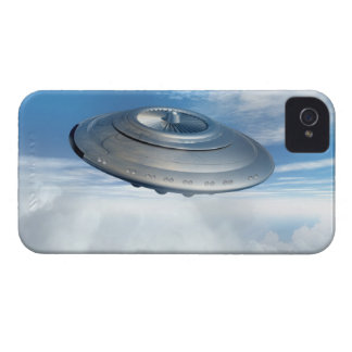 UFO flying through cloudy skies. iPhone 4 Cover