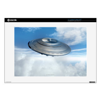 UFO flying through cloudy skies. Laptop Decal