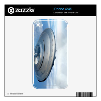 UFO flying through cloudy skies. Skins For The iPhone 4S
