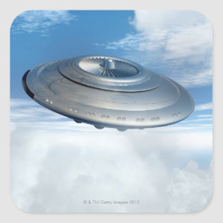 UFO flying through cloudy skies. Square Sticker