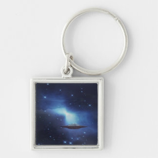 UFO galaxies Silver-Colored Square Keychain