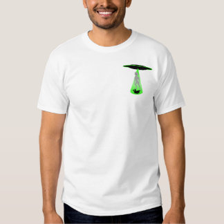 UFO Gray alien in green light T Shirts