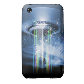 UFO hovering above Earth while abducting humans. Case-Mate iPhone 3 Case