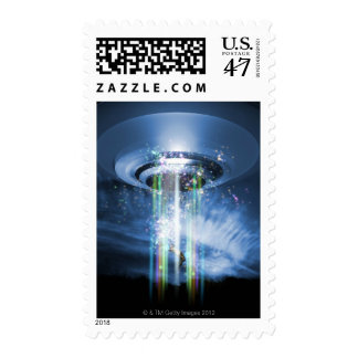 UFO hovering above Earth while abducting humans. Postage Stamp