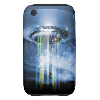 UFO hovering above Earth while abducting humans. Tough iPhone 3 Case