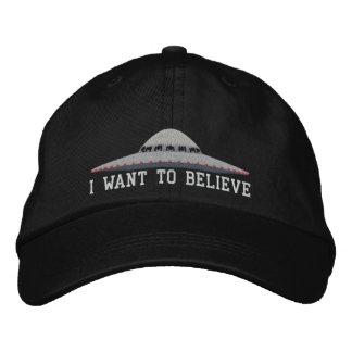 UFO I WANT TO BELIEVE BASEBALL HAT EMBROIDERED BASEBALL CAPS