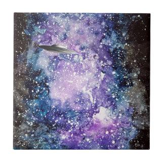 UFO in space artwork Ceramic Tile