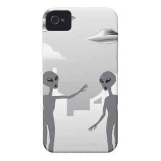 UFO in the sky Aliens On the ground iPhone 4 Case-Mate Case
