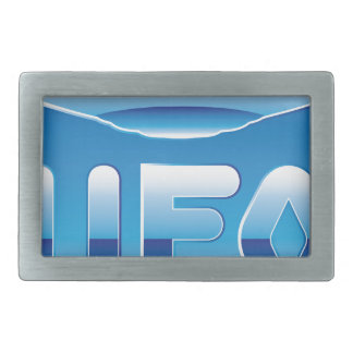 UFO in the sky with abbreviation Rectangular Belt Buckle