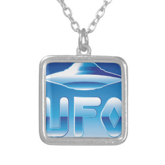 UFO in the sky with abbreviation Silver Plated Necklace