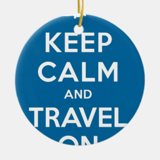 UFO Keep Calm And Travel On Double-Sided Ceramic Round Christmas Ornament