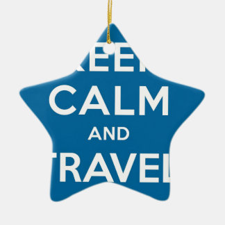 UFO Keep Calm And Travel On Double-Sided Star Ceramic Christmas Ornament