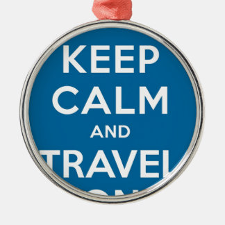 UFO Keep Calm And Travel On Round Metal Christmas Ornament