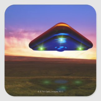 UFO Lights Square Sticker