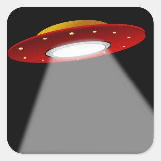 UFO - Nave espacial extranjera Calcomanías Cuadradass