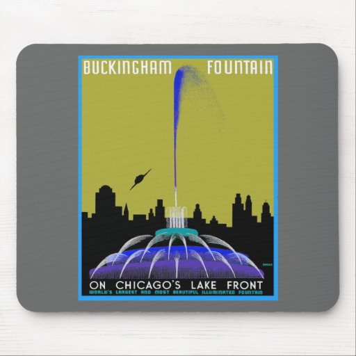 UFO over Chicago - Buckingham Fountain Mouse Pad