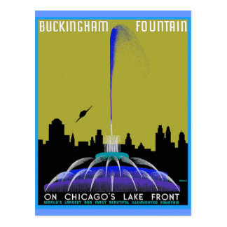 UFO over Chicago - Buckingham Fountain Postcard