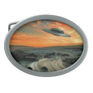 UFO Over Coast Belt Buckle