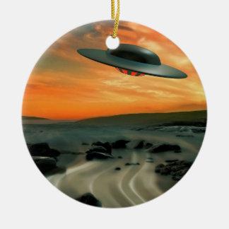 UFO Over Coast Ceramic Ornament