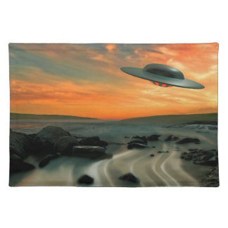 UFO Over Coast Cloth Placemat