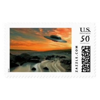 UFO Over Coast Postage