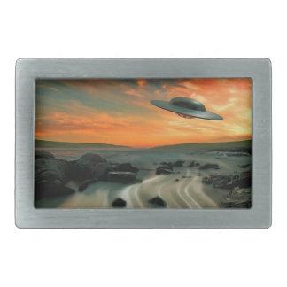 UFO Over Coast Rectangular Belt Buckle
