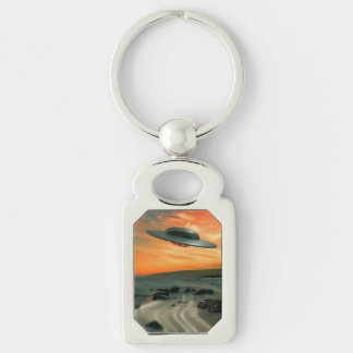 UFO Over Coast Silver-Colored Rectangular Metal Keychain