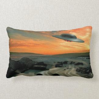 UFO Over Coast Throw Pillow
