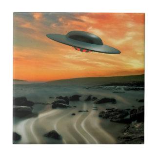 UFO Over Coast Tile