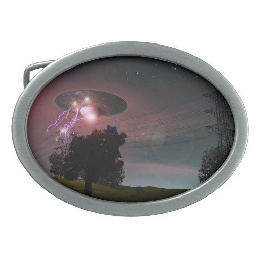 UFO Over Powerlines 2 Belt Buckle