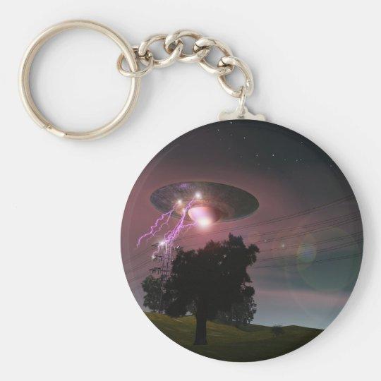 UFO Over Powerlines 2 Keychain