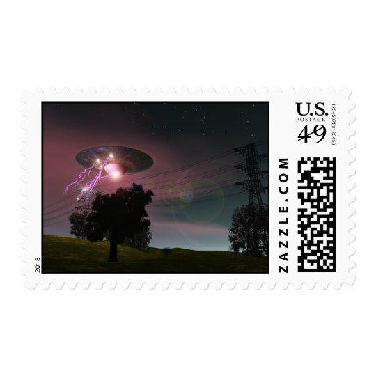 UFO Over Powerlines 2 Postage