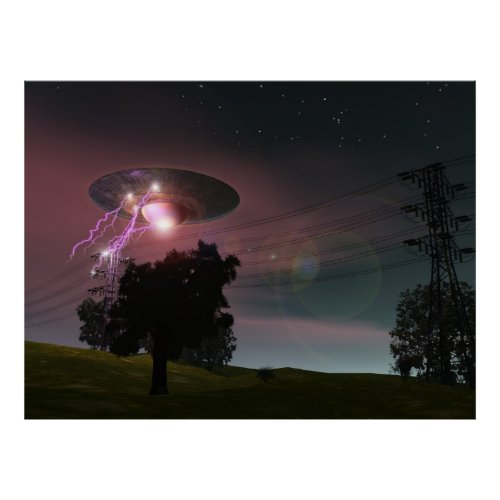 Ufo over powerlines 2 poster print