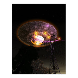 UFO Over powerlines Postcard