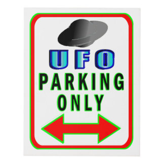 UFO Parking Only Panel Wall Art