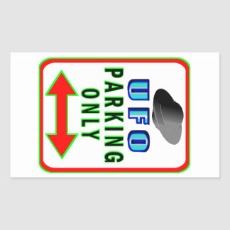 UFO Parking Only Rectangular Sticker