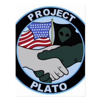 UFO PROJECT PLATO 5 PATCH ALIEN SECRET BASE POSTCARD