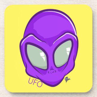 UFO Purple Alien Martian Head Cute Beverage Coaster